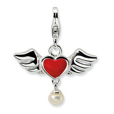 Freshwater Cultured Pearl Winged Heart Charm .925 Sterling Silver Amore La Vita