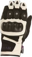 Weise Aztec Black White Leather Sport Armoured Race Motorcycle Gloves
