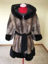Women's Genuine Pony Leather Coat with Mink Trim, Misses Size 42 Euro.