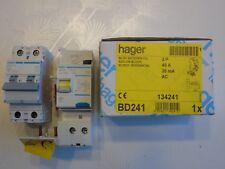 HAGER Réf BD241 + NFN240 DISJONCTEUR DIFFERENTIEL 2P 40A 30mA TYPE  AC 230V NEUF