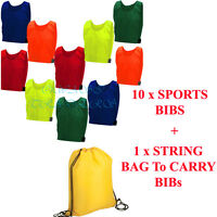 10 FOOTBALL Sports TRAINING BIBS Direct Kids Adult Child Girls Boys Coloured BAG