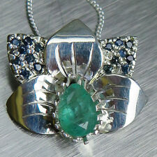 Natural Colombian Emerald & sapphires 9ct 14k 18k yellow white rose Gold pendant