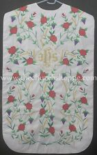NEW White Roman Chasuble Fiddleback Vestment & 5pc mass set IHS embroidery