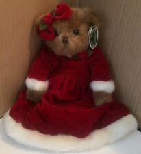 "Bearington Collection NWT Holly B. Jolly 13"" Red Velvet Dress, Flower on Head"
