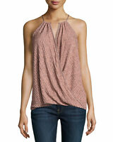 $128 NWT Ella Moss Size XS Ribbed Surplice Tank Heather Copper Top Blouse