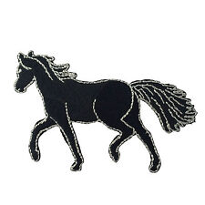 Embroidered Black Horse Equestrian Animal Sew or Iron on Patch Biker Patch