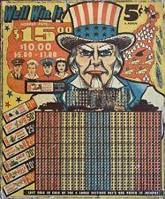 vintage World War 2 Punch Board Uncle Sam Military Gambling Game  WW2 Rare!!!