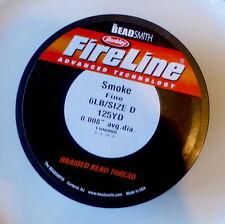 Beadsmith FireLine Beading Thread 6lb, size D, 125yds !!! SMOKE colour DARK GREY