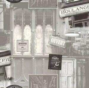 Vliestapete Retro Cafe Paris Tapete Vlies Vinyl Grau Ugepa