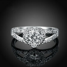 Women Silver Plated Crystal Love Heart Shaped Ring Bridal Wedding Jewelry New 1X