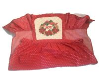 Vintage Christmas Apron Red Ruffled Bottom With Wreath With JOY