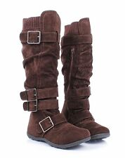 Brown Fashion Lady Side Buckles Faux Suede Womens Knee High Boots Size 9