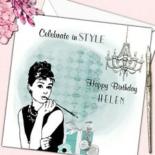 Personalised Birthday Card Female Audrey Hepburn Tiffany 18th 21st 30th 40th 50t