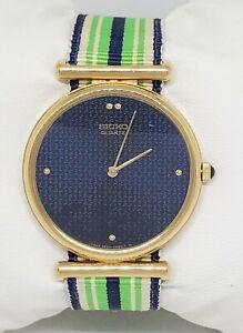 Vintage Mens Seiko Gold Tone Blue Dial Canvas Band Watch 2620 0150 C5 Rare