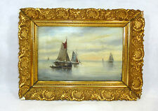 Romantika Bild um 1880 Gemälde Ölbild Segelschiff Schiff