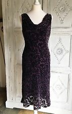 Vintage Wallis Petite Evening Dress Silk/Velvet Devoré 1990s - Size 12