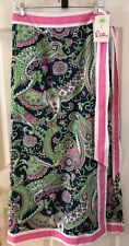 NWT Lilly Pulitzer Celine Long Wrap Skirt Navy Pink Green Paisley Small MRP$188