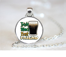 Irish Mans Best Friend PENDANT NECKLACE Chain Glass Tibet Silver Jewellery