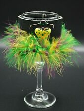 Wine Glass Rare Feather Koozie Insulated Girls Night Out Yellow Purple Green