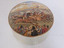 Antique Horse Race Scene Prattware Lid with Jar Staffordshire Pottery
