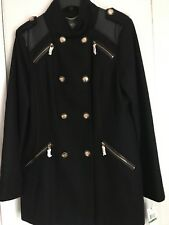 Military Coat black By Vincent Camuto Woman Size L New