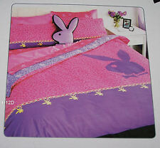 Playboy Charm Pink / Purple Double Bed Cotton Quilt Cover Set New