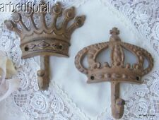 Set/2 Cast Iron King Queen Wall Hooks Crown Towel Purse