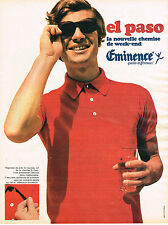 PUBLICITE  advertising 1969    EMINENCE   chemise polo EL PASO
