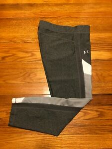 Under Armour Women HeatGear Color Blocked Ankle Crop 1292129 Gray, Silver LARGE
