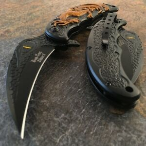 """8"""" Spring Assisted Open Folding Pocket Knife Dragon Karambit Claw Tactical New"""