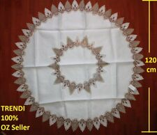 White & Grey Lace Round Dinning table Tablecloth 120 cm diameter suits 3-4 seats