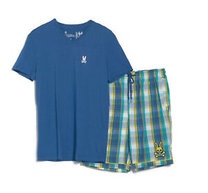 Psycho Bunny Men's Blue S/S V-Neck Shirt & Plaid Woven Short Lounge Set Gift Box