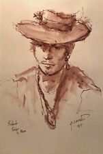 1969 SIGNED MIXED MEDIA MAN WITH HAT AND EARRING FIGURE PORTRAIT STUDY PAINTING