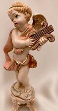 "Fontanini Cherub Angel Depose Italy 6"" Vintage Figurine Playing Harp Statue Base"