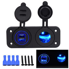 Marine Boat  Panel Switch Blue 12V USB Charger Adapter LED Voltmeter Waterproof