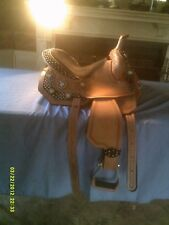"""Saddle By Silver Royal All Leather Barrel Racing Tooled & Crystal Stars 13 1/2"""""""