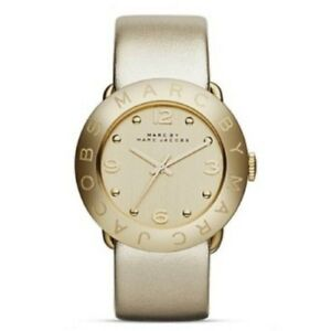 Womens Marc Jacobs MBM8627 Amy Metallic Gold Leather Watch RRP £299