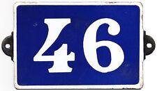 Old blue French house number 46 door gate plate plaque enamel metal sign steel