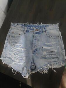 Ksubi Size 26 Classick Slashed Denim Shorts