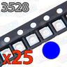25x LED SMD3528 AZUL 20mA brillo smd 3528 blue