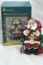 Traditions Porcelain Hand Painted Santa In Rocking Chair Trinket Box