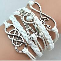 Armband Leder Wickelarmband Vintage Armkette Lederarmband Infinity Love Eiffel