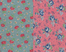 Vtg 30s Feedsack Fabric Lot 2 Pieces Pink Blue Floral