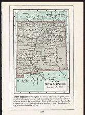 1892 Small Old Antique Vintage Paper US State Map of New Mexico