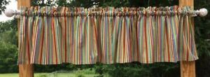 Blue Green Orange Red Brown Stripes Robot Gearheads Handcrafted Valance t6/25