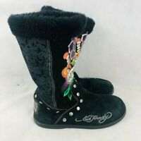 Ed Hardy Womens Love Life Winter Snow Boots Black Floral Studded Fur Lined 8