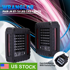07-16 Jeep Wrangler JK LED Tail Lights Brake Reverse Turn Signal Rear Lamps