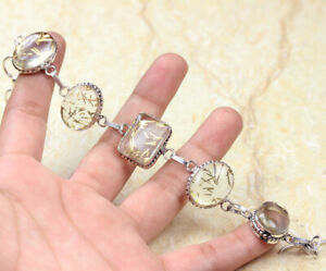 "Golden Rutilated Quartz 925 Silver Plated Gemstone Bracelet of 7.8"" Ethnic Gift"