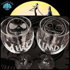 Personalised Jack & Sally Skellington Nightmare Wine Glasses Wedding Valentines
