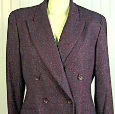 Linda Allard Ellen Tracy 14 P Purple Tweed Wool Silk Double Breasted Blazer $395